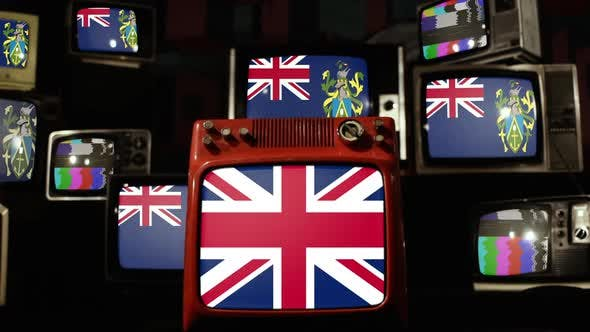 Thumbnail for Flag of Pitcairn Islands and UK Flag on Retro TVs.