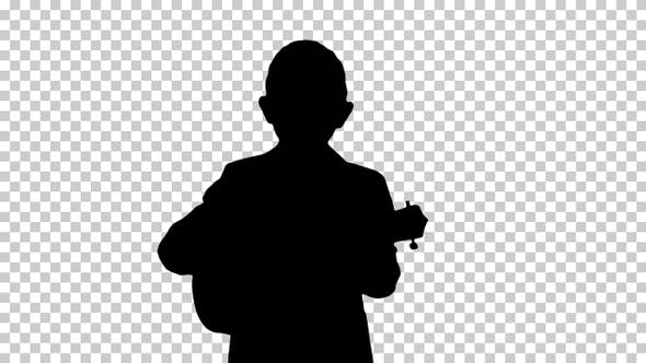 Thumbnail for Silhouette Boy walking and playing ukulele, Alpha Channel