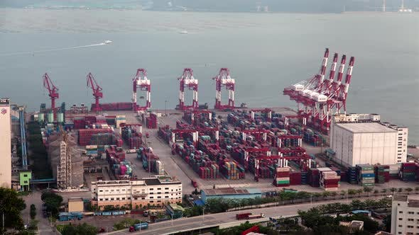 Thumbnail for Timelapse Red and White Cranes Move in Port of Shenzhen