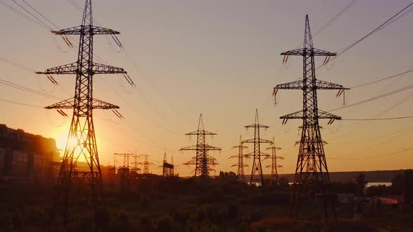 High-voltage power towers
