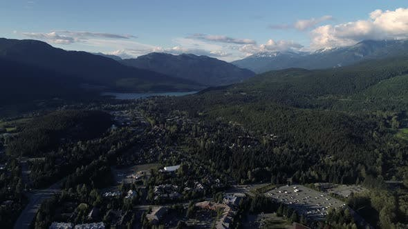 Thumbnail for Helicopter View Of Sea To Sky Highway At Whistler Facing Green Lake And Pemberton