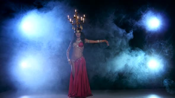 Thumbnail for Attractive Belly Dancer Dancing with Candles on Her Head, Black, Smoke