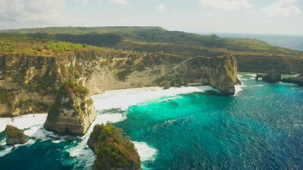 Thumbnail for Aerial View on Diamond Beach at the Bottom of a Cliff, Nusa Penida, Bali, Indonesia. Aerial View
