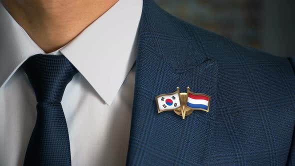 Thumbnail for Businessman Friend Flags Pin South Korea Netherlands