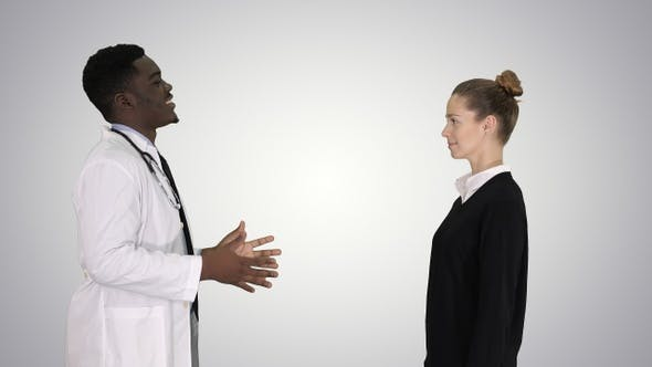 Thumbnail for Doctor Telling Good News and Patient Leaves on Gradient Background