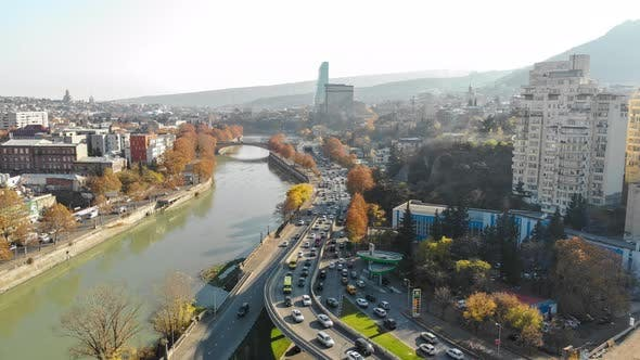 Thumbnail for Aerial Timelapse shooting of Tbilisi. Galaktion Tabidze Bridge. Georgia