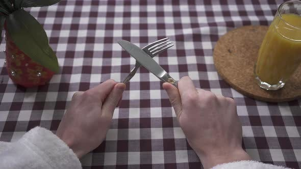 Thumbnail for Man's Hand Rub the Knife on the Fork, Demanding Food