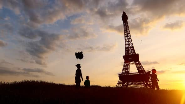 Children Playing in Front of the Eiffel Tower