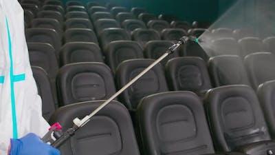 Worker Disinfect Cinema Hall Against Coronavirus