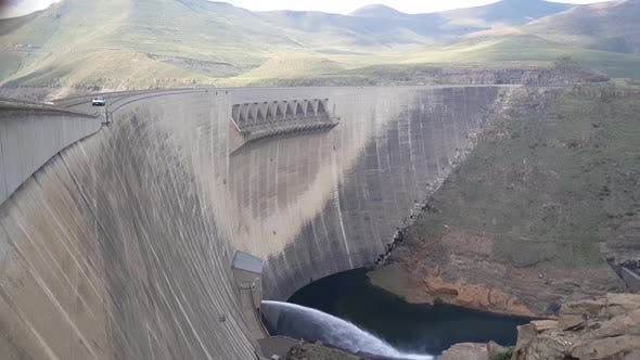 Water sprays from the Katse Dam on the Malibamat'so River in Lesotho