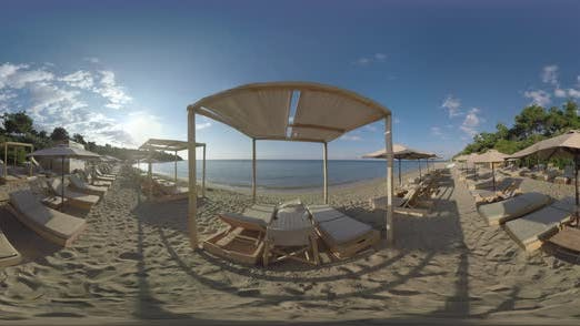 Thumbnail for 360 VR Sea and Empty Deck-chairs on Shore. Vacation in Trikorfo Beach, Greece