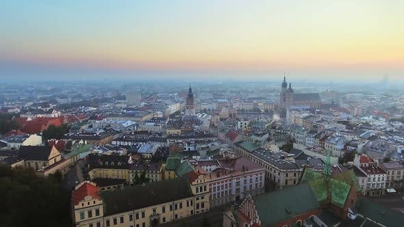Thumbnail for Aerial View of Krakow Historic Market Square, Poland, Central Europe at Morning.