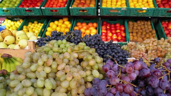 Thumbnail for Showcase with Grapes and Other Fruits on the Street Market