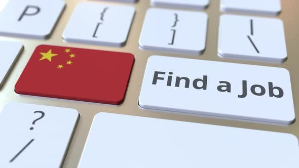 Thumbnail for FIND A JOB Text and Flag of China on Computer Keyboard