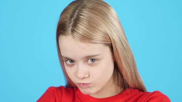 Thumbnail for Close-up Little Blonde-haired Girl Showing Emotion Punishment, Slow Motion