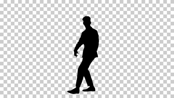 Thumbnail for Silhouette Man walks in and dances, Alpha Channel