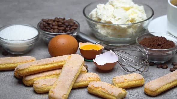 Cover Image for Ingredients for Cooking Tiramisu - Savoiardi Biscuit Cookies, Mascarpone, Cream, Sugar, Cocoa