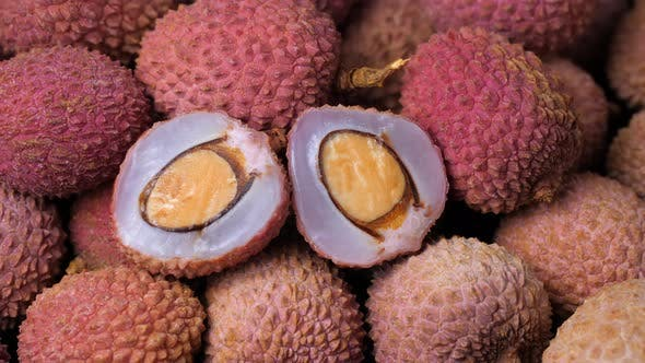 Fresh ripe lychee tropical fruit as background