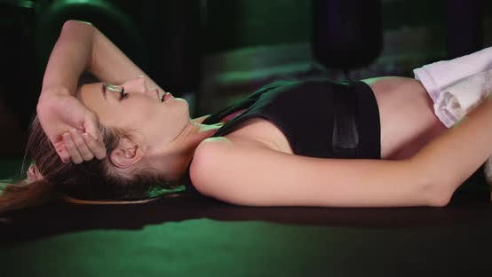 Thumbnail for Extremely Tired Woman at Gym Resting