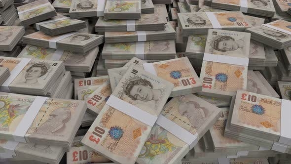 Thumbnail for 10 British Pounds Sterling Banknote Bundles Scattered