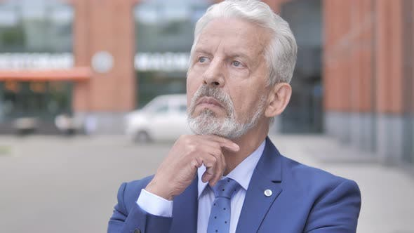 Thumbnail for Pensive Old Businessman Thinking New Plan