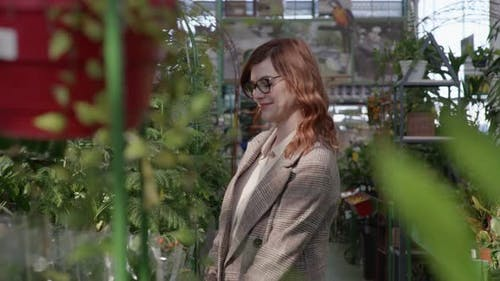 Female Customer in Glasses for Sight Chooses Flowering House Plants in Pots for Interior Decoration
