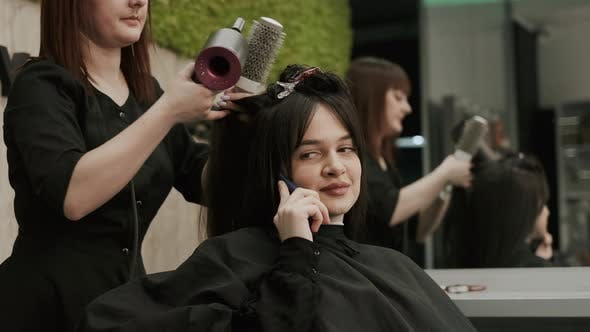 Thumbnail for Hair Care In Fashion Studio. Beautiful Young Woman.