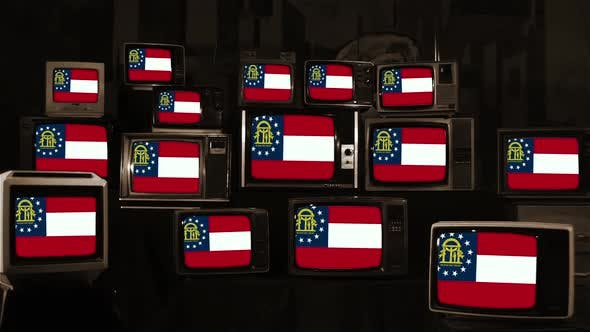 Thumbnail for Flag of Georgia (U.S. state) on Retro TVs.
