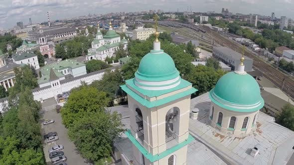 Cover Image for Aerial View of Moscow Cityscape with Church in Foreground