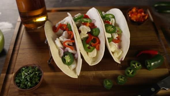 Fish Tacos on Wood Board 20