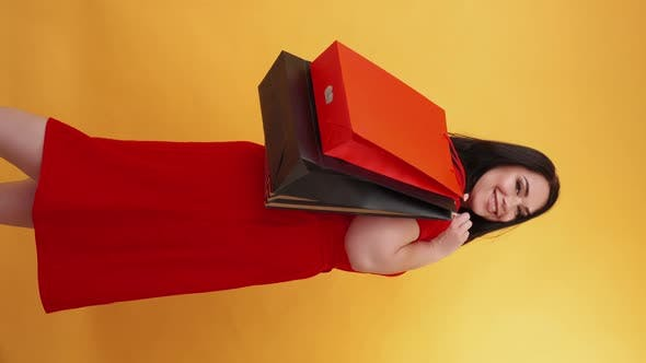 Shopping Fun Shopaholic Lifestyle Overweight Woman