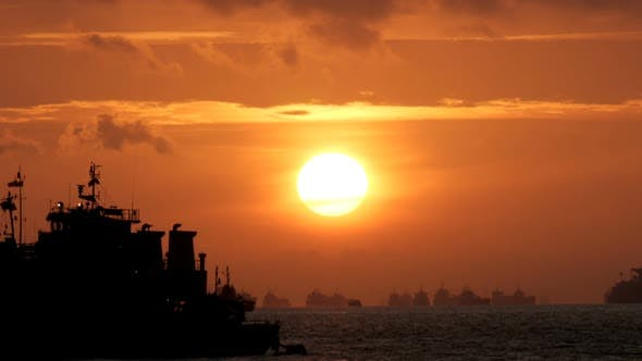 Thumbnail for Cargo Ship With Sunrise
