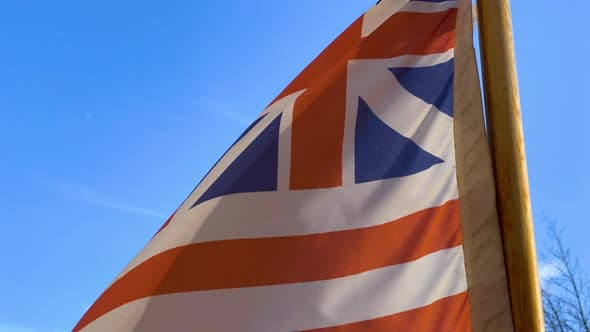 Thumbnail for A Waving Grand Union Flag, Also Known As the Continental Colors, the Congress Flag, the Cambridge