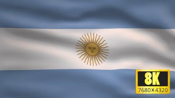 8K Argentina Windy Flag Background