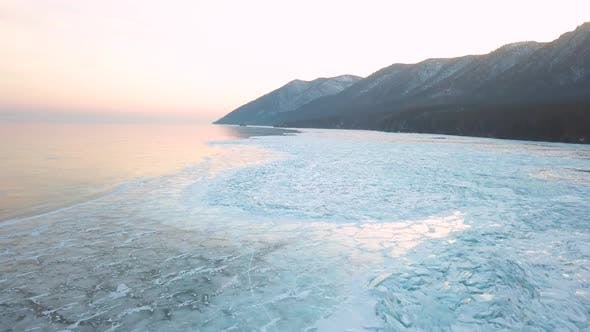 Thumbnail for Sandy Bay on Lake Baikal in Winter. Siberia, Russia, Aerial View.
