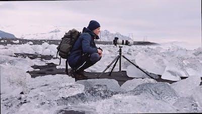 Photographer on Diamond Beach Iceland
