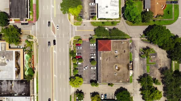 Thumbnail for Aerial Overhead Shot Hollywood Boulevard Florida Road With Light Traffic