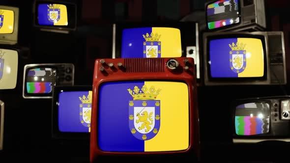 Thumbnail for Flag of Santiago de Chile and Retro TVs.