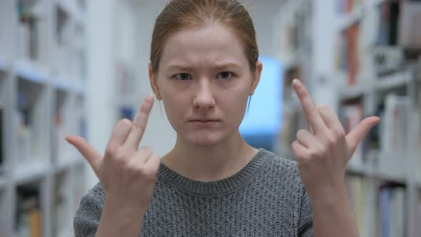 Thumbnail for Frustrated Young Woman Showing Middle Finger in Anger