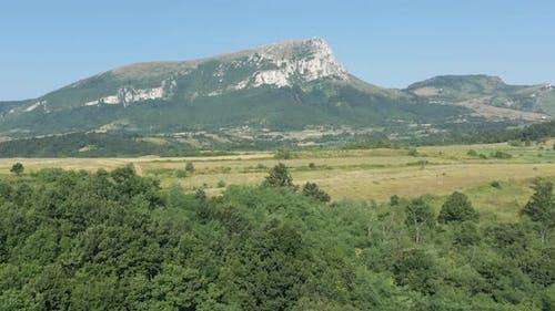 Beautiful green scenery under the Stol mountain in Eastern Serbia 4K drone video