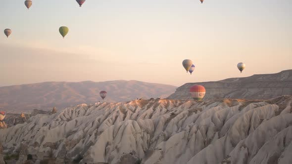 Different Hot Air Balloons with Envelope Silhouettes Float