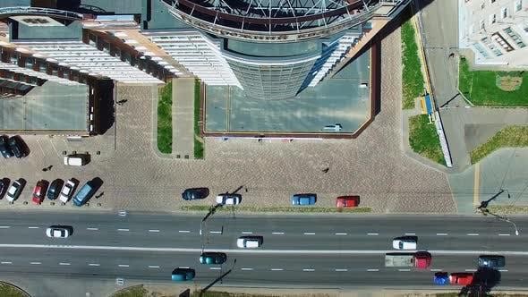 Thumbnail for Luftaufnahme der modernen Stadt. Moderne Stadt mit Autobahnverkehr