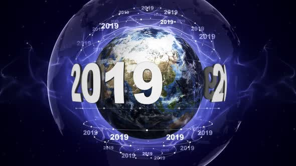 Thumbnail for Earth and 2019 New Year Text Animation, Loop