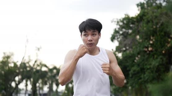 Man punching at the air