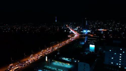 Night Highway with Traffic Jams