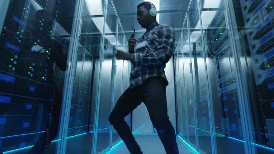 Thumbnail for Dancing Black IT Engineer in Server Room