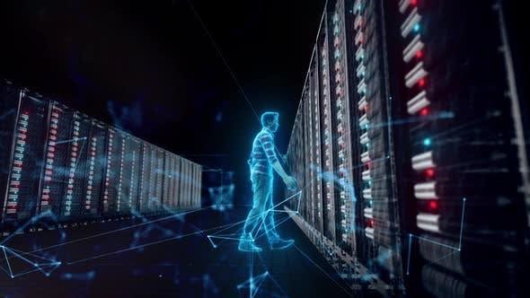 Thumbnail for Database Adminstrator Front Of Big Server V2 Hd