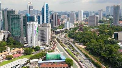 Skyline Day Traffic of Kuala Lumpur, Malaysia