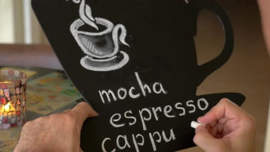 Cover Image for Man Writing Coffee Types on the Chalk Board