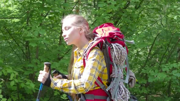 Thumbnail for Woman with Backpack Walking in a Forest